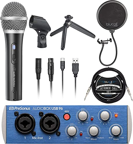 """new arrival Audio-Technica ATR2100X-USB Cardioid Dynamic Microphone (ATR Series) Bundle with PreSonus lowest AudioBox USB 96 2x2 USB outlet online sale Audio Interface, Blucoil Pop Filter, and 10' Straight Instrument Cable (1/4"""") sale"""