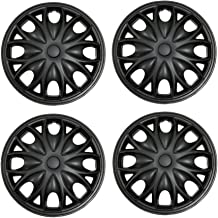 Tuningpros WC3-15-3526-B - Pack of 4 Hubcaps - 15-Inches Style 3526 Snap-On (Pop-On) Type Matte Black Wheel Covers Hub-caps