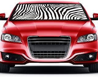 Premium White Zebra Animal Sun Shade Print Car Truck Front Windshield Auto Accordion Style Sunshade