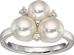 Majorica - 6mm and 7mm Round Pearls with CZ Accents Sterling Silver Ring