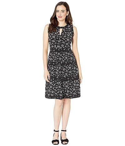 MICHAEL Michael Kors Wildflower Mix Tier Dress (Black/White) Women