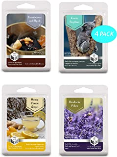 4 Pack - Get Well Apothecary Collection Soy Blend Scented Wax Melts Wax Cubes, 10.0 oz, [24 cubes] with Headache Pillow Lavender, Eucalyptus Koala Naptime, Honey Lemon Ginger and Frankincense, Myrrh