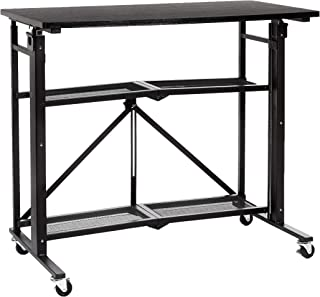Amazon Basics Foldable Standing Computer Desk with Storage Shelf, Adjustable Height, Easy Assembly - Black