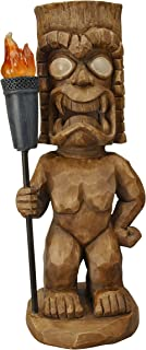 Moonrays 95960 Hand Painted Tiki Themed Outdoor Solar Light Garden Gnome, Tiki Warrior, Wood Carved with LED Illuminated Eyes and Torch, Pre Charged Battery Included, Measures 18.5 Inches