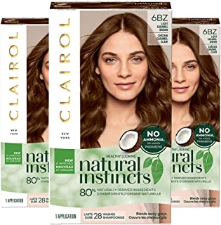 Clairol Natural Instincts Hair Color 6BZ /12A Light Caramel Brown(Pack of 3)
