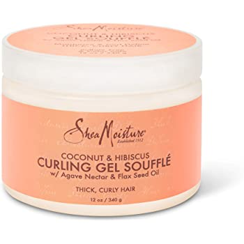 SheaMoisture Curling Gel Souffle for Thick, Curly Hair Coconut and Hibiscus to Moisturize and Protect Hair 12 oz