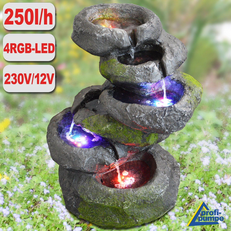 AMUR Fuente Decorativa - Fuente DE JARDÍN - Fuente DE Interior y Exterior - Fuente EN Cascada 230/12V - Fuente Ornamental 230V - Fuente Cascada Roca con luz LED en 4 Colores: Amazon.es: Jardín