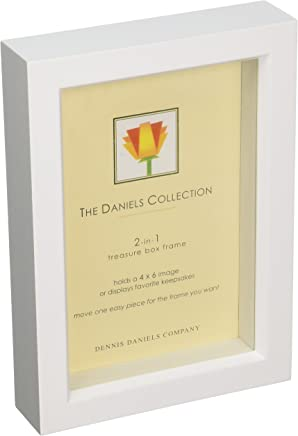 Dennis Daniels Wood Treasure Box Picture Frame, 4 x 6 Inches, Bright White