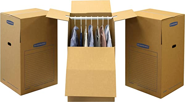 Bankers Box SmoothMove Wardrobe Moving Boxes Tall 24 X 40 Inches 3 Pack 7711001