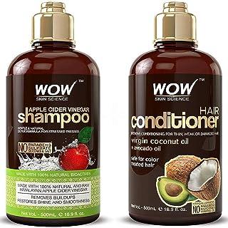 Wow Apple Cider Vinegar Shampoo & Hair Conditioner Set - Increase Gloss, Hydration, Shine - Reduce Dandruff & Frizz - No P...