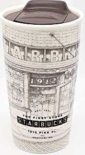 Starbucks Coffee Pike Place Sketch Double Wall Ceramic Travel Mug, 12 oz