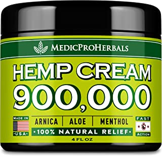 Рain Relief Hemp Cream 900,000 | 4oz - Made in USA - Natural Joint, Arthritis & Back Рain Support - Hemp Extract Cream for...