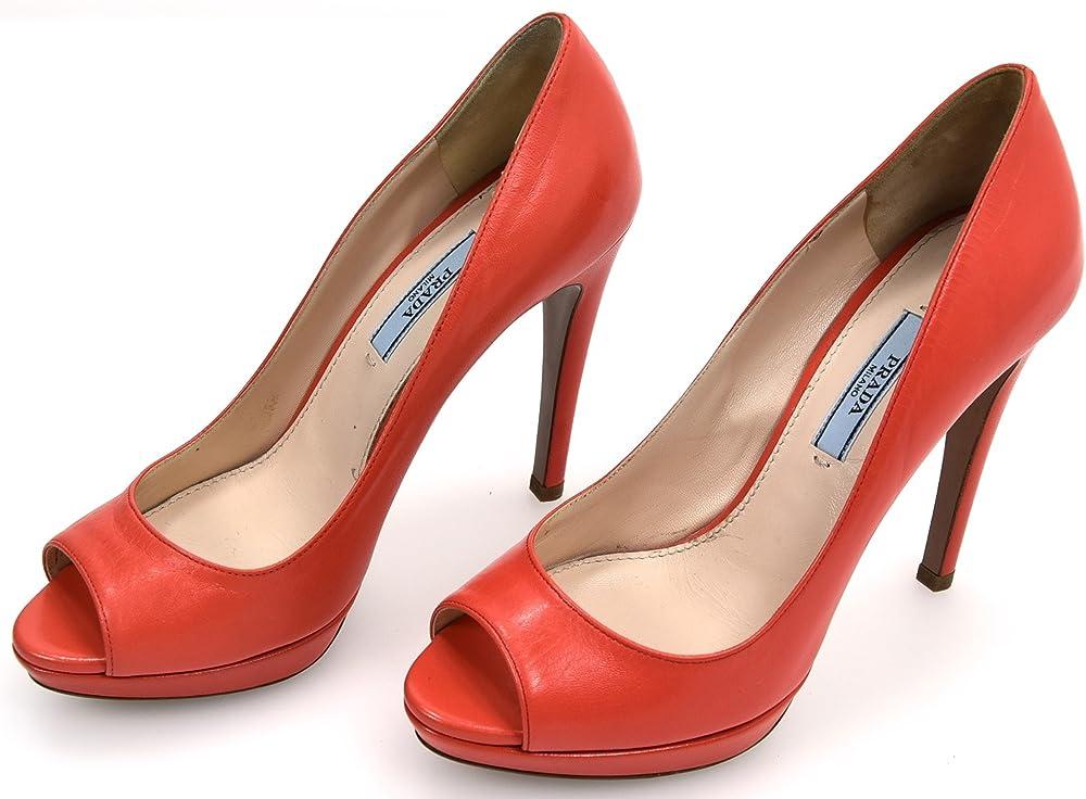 Prada, scarpa decolleté tacco a spillo, aperte in punta per donna,in pelle,numero 37 eu 1KP236