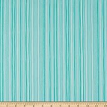 QT Fabrics Sweet Caroline Stitched Stripe Turquoise Fabric by the Yard