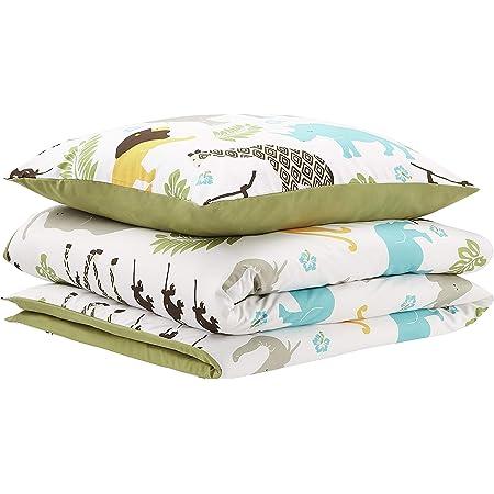 Amazon Basics Parure de lit pour enfant avec housse de couette, microfibre, animaux - 135 x 200cm + 80 x 80cm