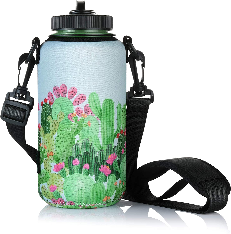 Beautyflier ネオプレン ウォーターボトル スリーブ 断熱クーラー 調節可能なショルダーストラップ付き 32オンス 広口スポーツウォーターボトル