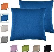 مجموعة كيكياوسوكاي مكونة من 2 أغطية وسائد زرقاء كلاسيكية من الكتان المقلد، أغطية وسائد مربعة للزينة 18 × 18 بوصة لتزيين ال...