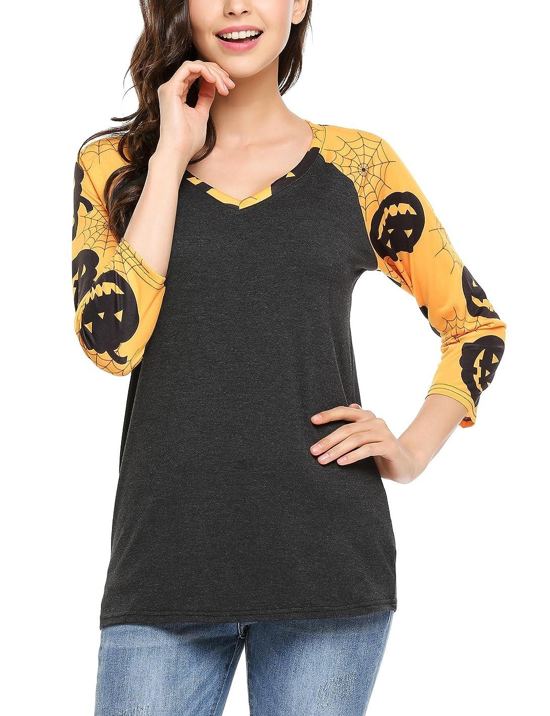 ELESOL Women's Long Sleeve V Neck Loose Shirt Floral Printed Raglan Top Tunic yaixypdiaev179