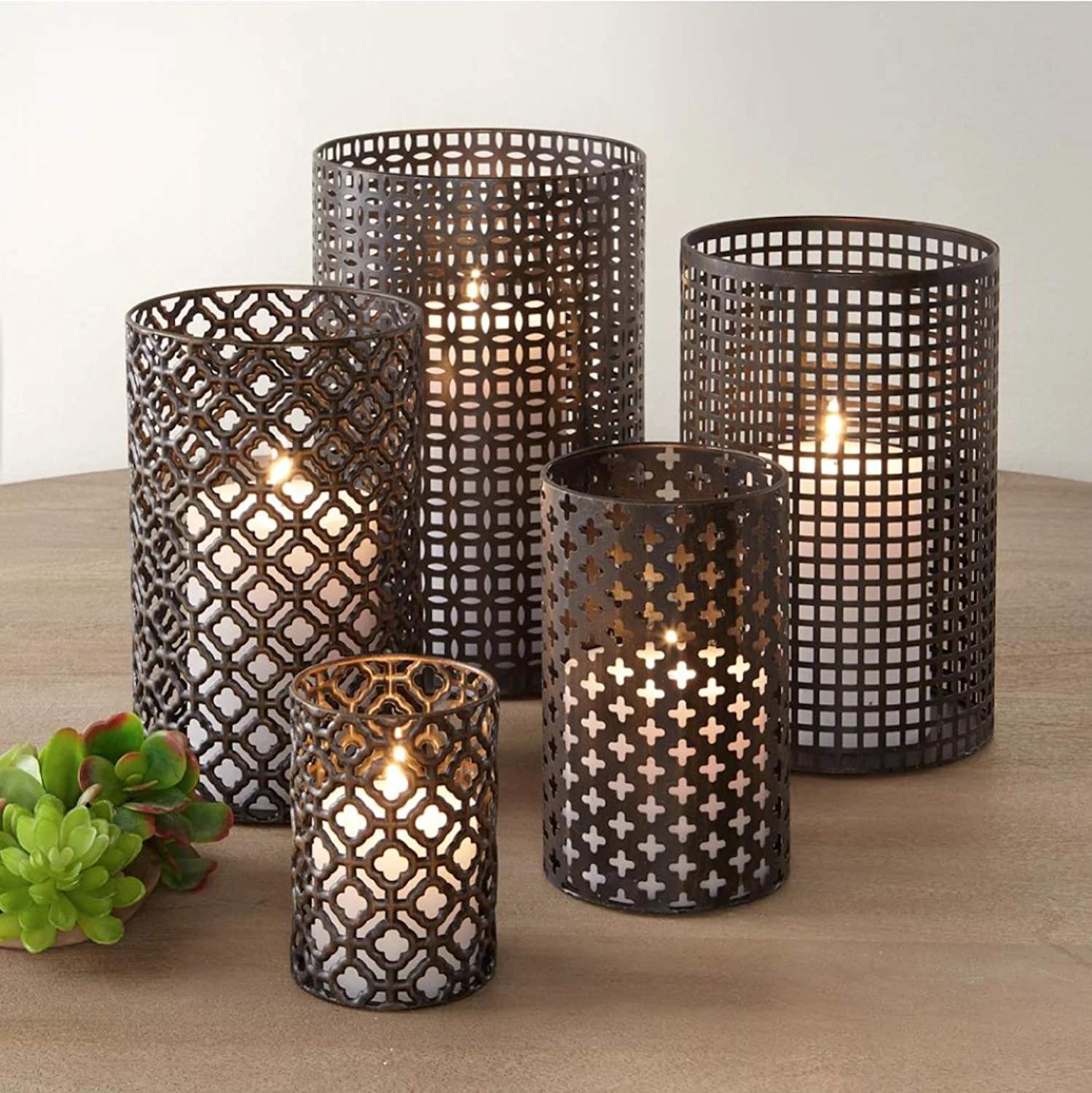 DQ Home Decor Set of 5 Large Cylindrical Metal Candle Holders Bronze Hurricane Pillar Candleholder Rustic Table Candlestick Holders Great Centerpiece for Home Decor: Kitchen & Dining