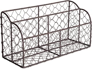 Home Traditions Rustic Farmhouse Chicken Wire Letter Holder with Two Slots for Home or Office to Sort and Organize in-Coming or Out-Going Letters and Bills