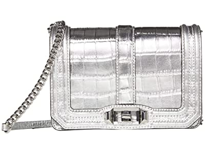 Rebecca Minkoff Chevron Quilted Small Love Crossbody (Silver 2) Cross Body Handbags