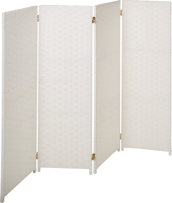 Oriental Furniture Shorter Height 4 Panel Room Divider, 4-Feet Rattan Like Woven Plant Fiber Folding Privacy Screen, White