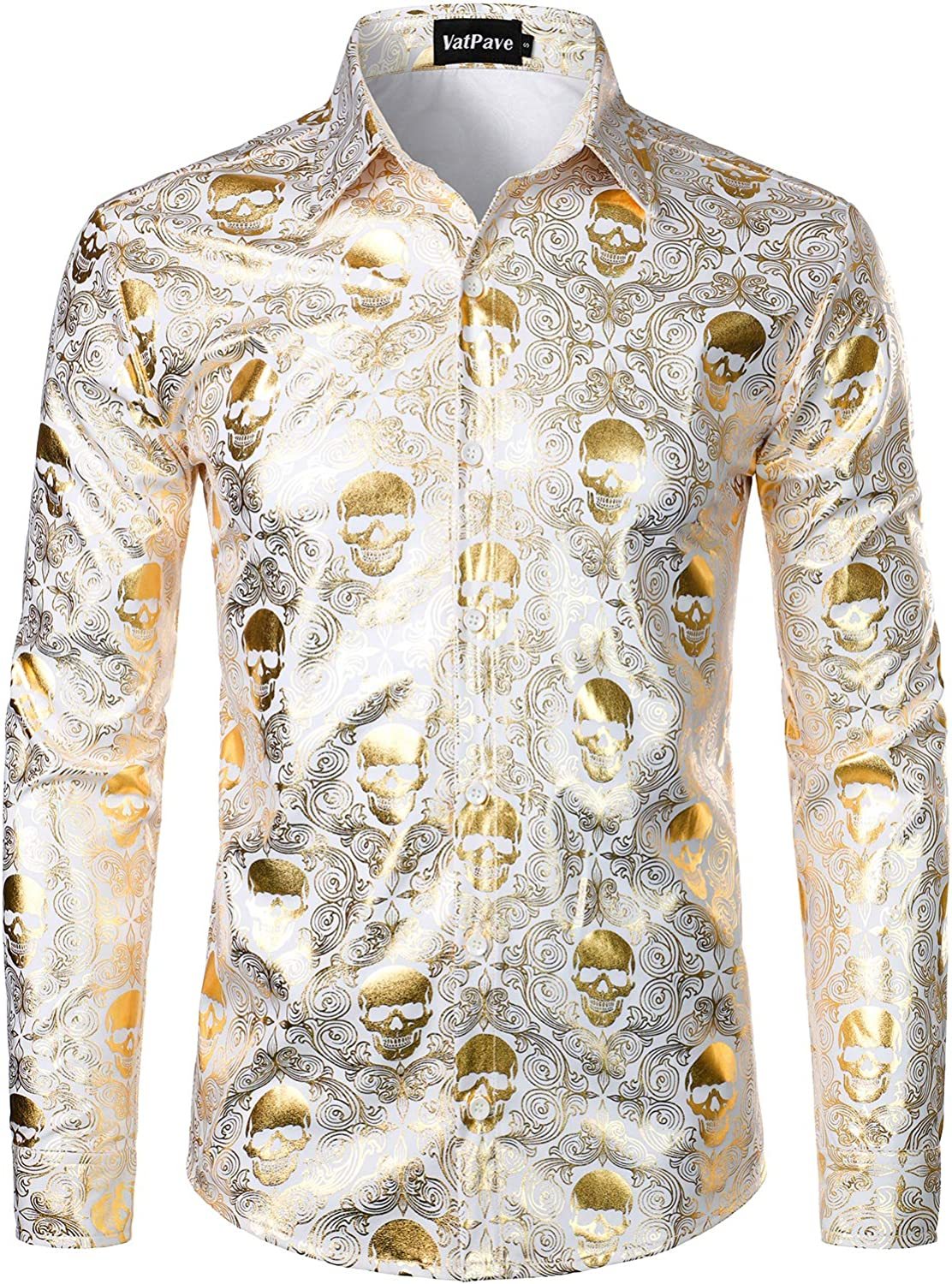 VATPAVE Mens Luxury Design Skull Dress Shirts Regular Fit Button Down Paisly Shirts Long Sleeve Prom Shirts