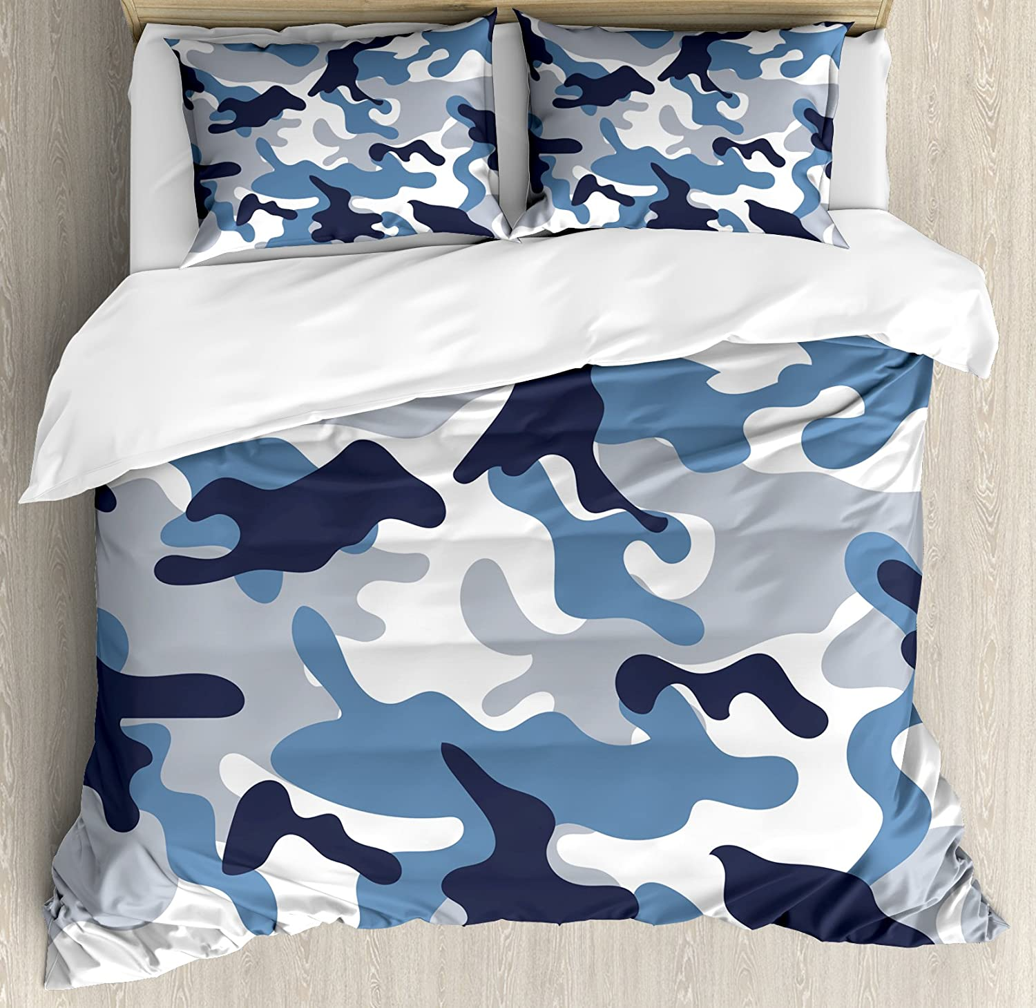 Ambesonne Camouflage Duvet Cover Set Queen Size, Illustration with Abstract Soft colors Pattern Camouflage Design, Decorative 3 Piece Bedding Set with 2 Pillow Shams, Slate bluee Indigo Grey