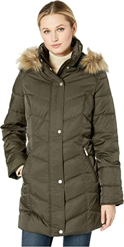 3/4 Chevron Quilted Puffer w/ Faux Fur Trimmed Hood