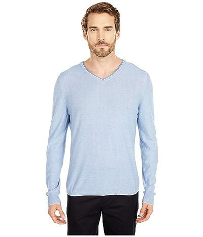 BUGATCHI Filipo Long Sleeve Sweater V-Neck (Sapphire) Men