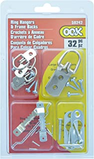 OOK by Hillman 535672 Zinc Ring Assorted Hanger and Picture Frame Back Kit, 32 Pieces