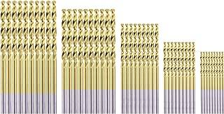 HSS Micro Titanium Coated Twist Drill Bit Set, High Speed Steel Jobber Length Drill, Split Point, 50 PCS Drill Bits Tools, 1/32