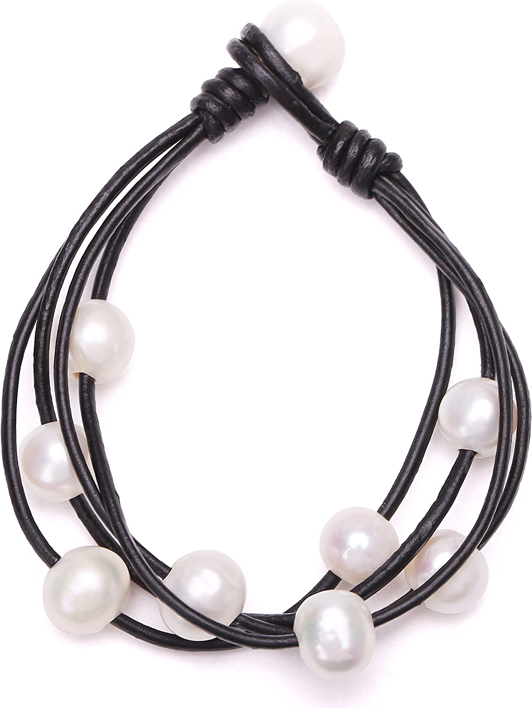 Cultured Freshwater Pearl Wrap Bracelet on Multi Strands Leather
