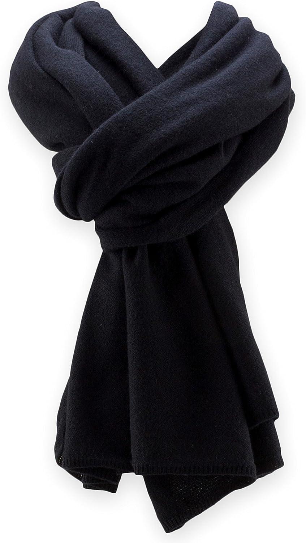 Jet&Bo 100% Pure Cashmere Travel Wrap, Scarf & Blanket Black, Storage Bag + Gift Box