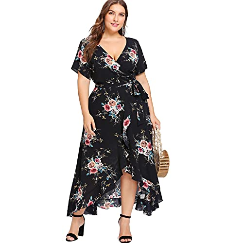 bbe68878dd26 Milumia Plus Size Short Sleeves Wrap V Neck Belted Empire Waist  Asymmetrical High Low Bohemian Party