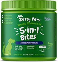 Zesty Paws 8-in-1 Bites for Dogs + Hemp Seed - with Glucosamine, Chondroitin & MSM for Joint Health - Probiotics for Gut Function - Omega 3 for Skin Health - Heart & Immune Support