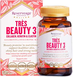 Reserveage - Tres Beauty 3, Beauty Building Support Youthfully Soft and Supple Skin, Helps Strengthen and Add Shine to Hai...