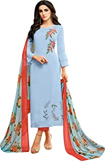 Rajnandini Women's Light Blue chanderi silk Embroidered Semi-Stitched Salwar Suit Material With Printed Dupatta (Free Size)