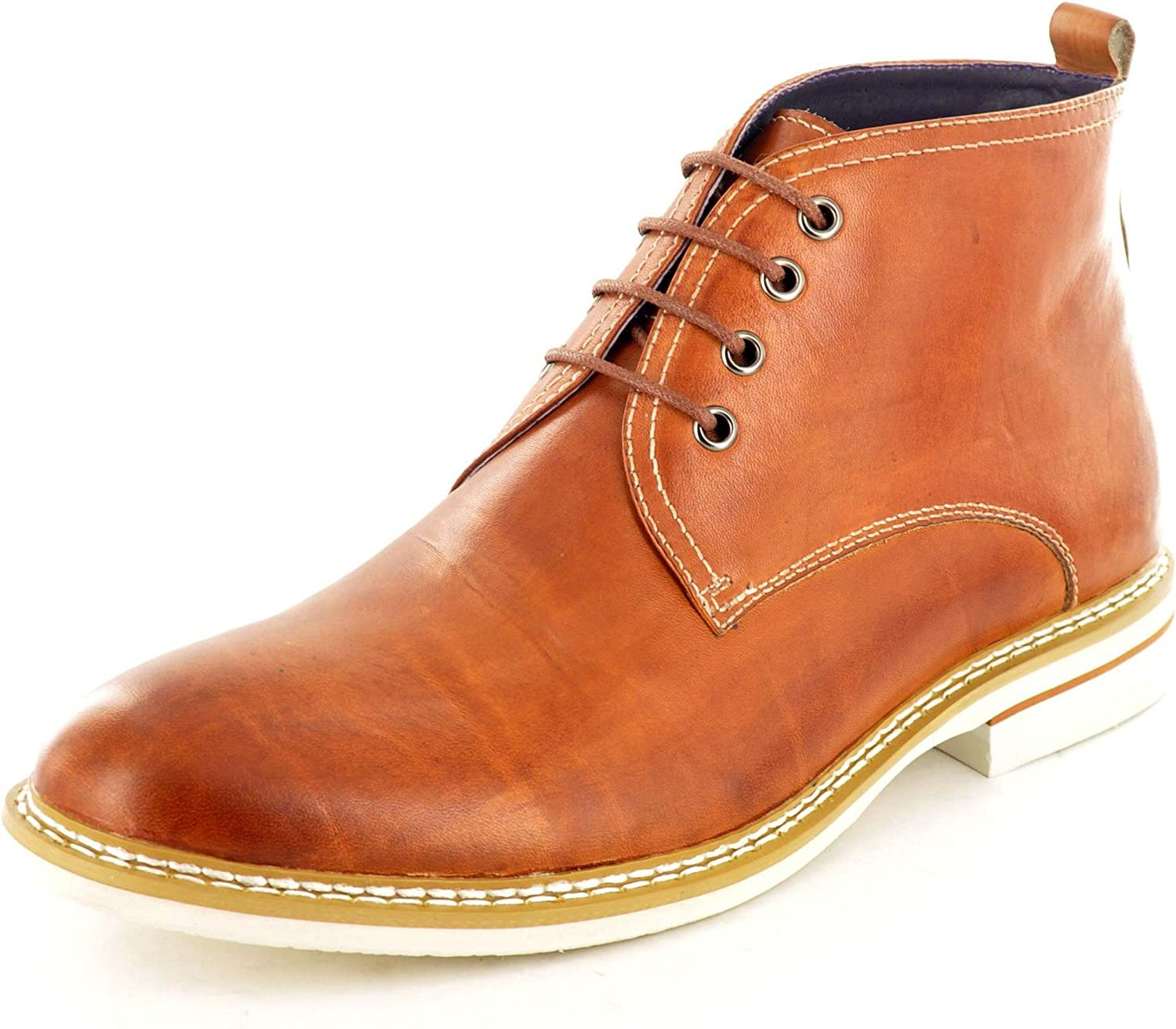 Size 10 Men's Jp1526 Gucinari Tan Lace Up Four Eyelet Mid Cut Leather Chukka Boots
