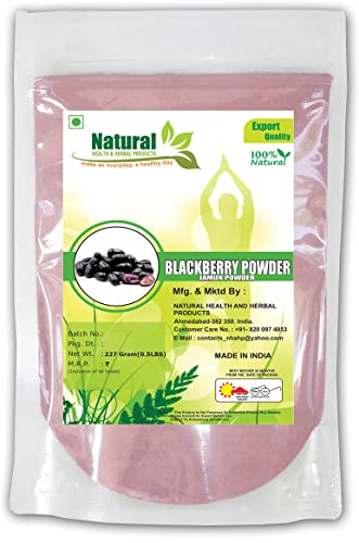 Natural Health and Herbal Products 100 Natural Herbal Jamun Blackberry Seeds Powder As Antioxidant For Stable Health 227 g