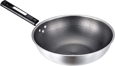 [XONEAR] Stainless steel 13.5 inch nonstick wok with lid,frying pan,saute pan,fry pan,wok and stir fry pans with double-sided