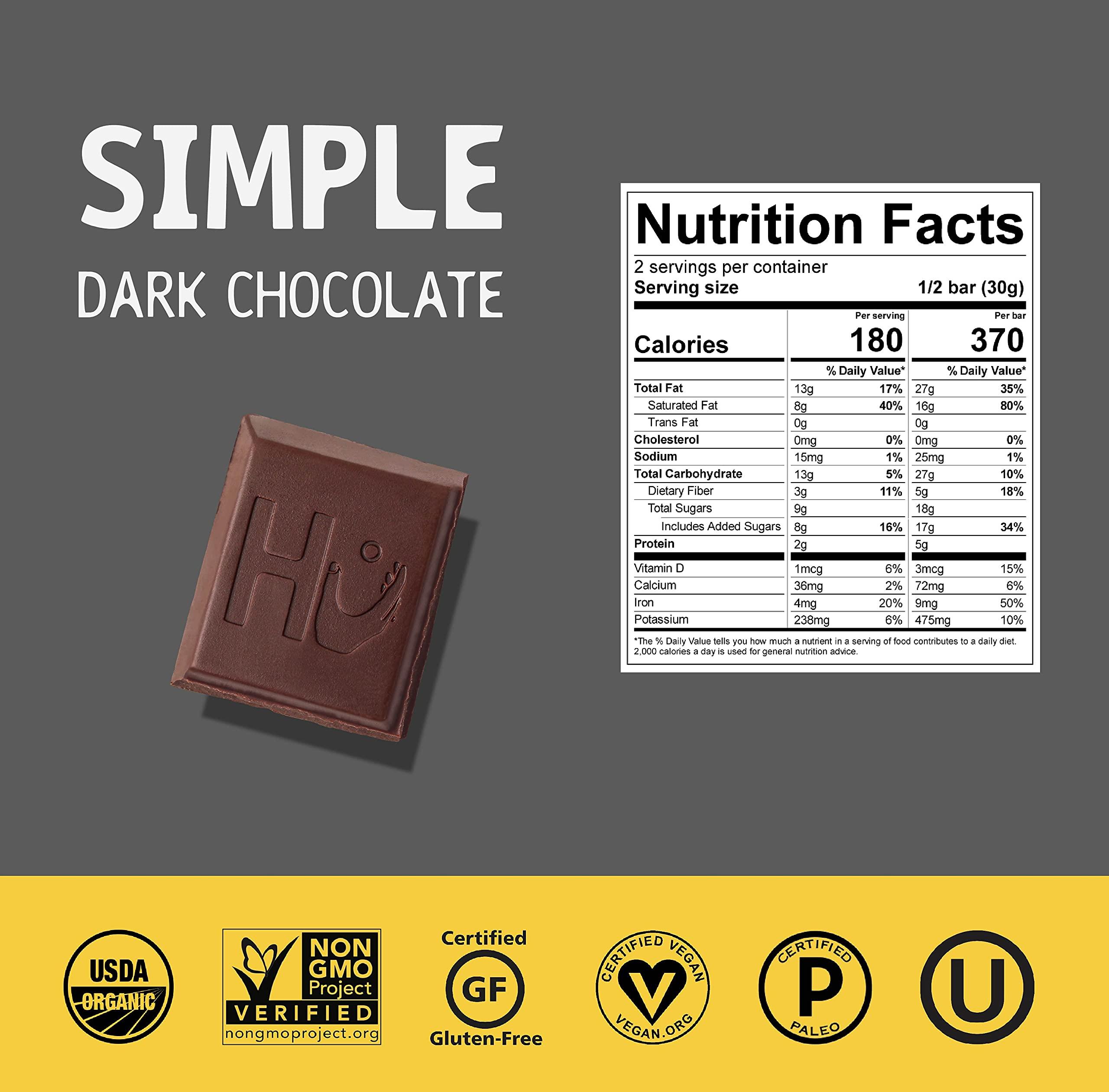 Hu Dark Chocolate Bars   Natural Organic Vegan Chocolate, Gluten Free, Paleo, Non GMO, Fair Trade Dark Chocolate (Simple Dark Chocolate, 4 pack)