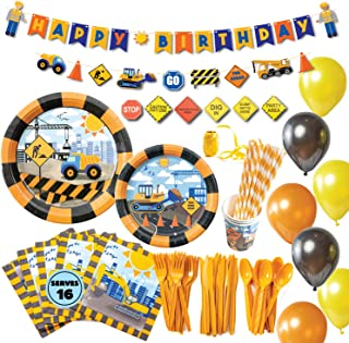 Whoobli Construction Birthday Party Supplies (Serves 16), Complete Dump Truck Construction Party Supplies with Birthday Plates, Utensils, Cups, Napkins, and Construction Birthday Decorations for Boys