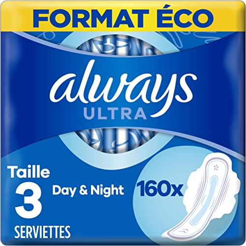Always Ultra, Serviettes Hygiéniques Day & Night, Taille 3, Super absorbantes et Ultra Fines, Format Eco x160 (16 pac...