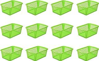 سلة تخزين بلاستيكية مثقوبة من YBM HOME درج مكتب، رف منظم طاولة لسطح المكتب 32-1184، أخضر 32-1184-1184-12-أخضر