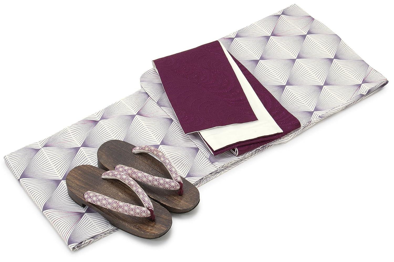 [ボヌールセゾン] bonheur saisons レディース浴衣セット 半幅帯 灰紫色 パープル 白 紫 幾何学模様 菱 綿 アートモダン 変わり織
