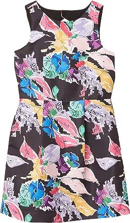 Bouquet Floral Print On Faille Anabelle Dress (Big Kids)