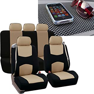 FH GROUP FH-FB351115 All Purpose Flat Cloth Built-in Seat Belt Seat Covers Beige/Black Color, Airbag Compatible and Split Bench W. FH1002 Non-Slip Dash Pad- Fit Most Car, Truck, SUV, or Van
