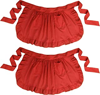 LilMents Twin Pack Retro Kitchen Ruffles Waist Apron with Pockets (Red)