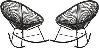 Acapulco Woven Basket Rocking Chair, Set of 2, Black